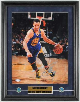 Stephen Curry Signed Warriors 15x19 Custom Framed Photo