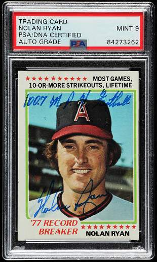 "Nolan Ryan Signed 1978 Topps #6 RB Inscribed ""100.7"
