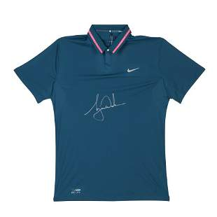 Tiger Woods Signed Autographed Nike Space Blue Polo