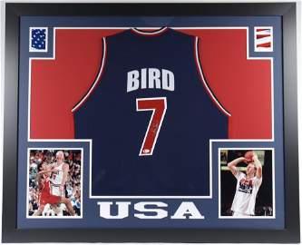 Larry Bird Signed 35x43 Custom Framed Jersey (Beckett