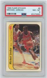 Michael Jordan 1986 Fleer Sticker #8 Rookie. PSA NM-MT