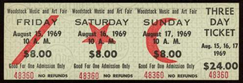 Woodstock Authentic Three Day Unused Ticket from August