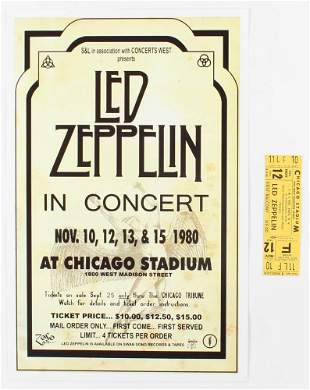 Set of (2) Led Zeppelin Concert Items with (1) Concert