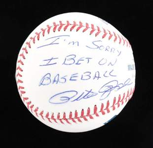 "Pete Rose Signed OML Baseball Inscribed ""I'm Sorry I"