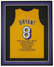 Kobe Bryant Signed Framed Custom Yellow Pro Style Stat