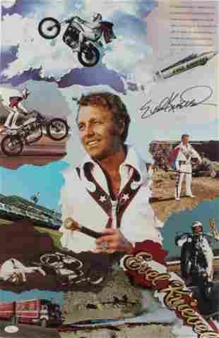 Evel Knievel Signed 16x25 Print (JSA COA)