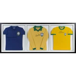 PELÉ SIGNED AND INSCRIBED BRAZIL WORLD CUP JERSEYS