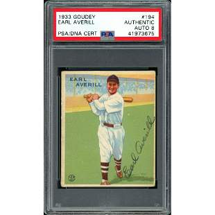 Earl Averill Autographed 1933 Goudey Rookie Card #194