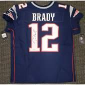 New England Patriots Tom Brady Autographed Blue Nike