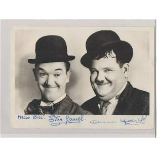STAN LAUREL & OLIVER HARDY signed 5x7 photo AUTOGRAPH