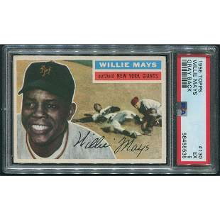1956 Topps Baseball #130 Willie Mays Gray Back PSA 5