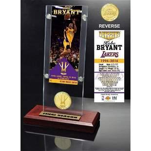 "Kobe Bryant ""Final Season"" Ticket & Bronze Coin Acrylic"