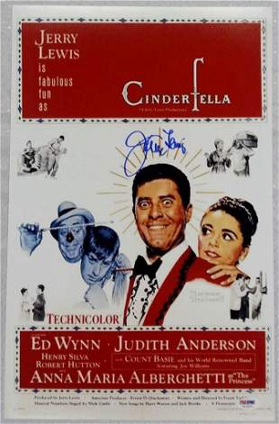 JERRY LEWIS Signed CINDERFELLA Movie Poster 11x17 Photo