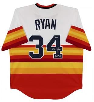Nolan Ryan Signed Houston Astros Throwback Baseball