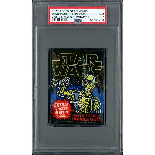"1977 Topps Star Wars Wax Pack Sealed ""Fun Pack"" PSA 7"