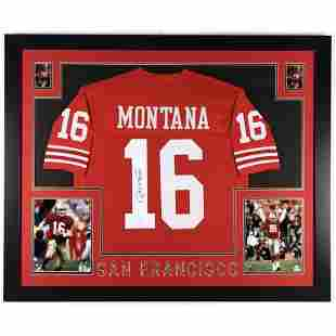 Joe Montana Signed 35x43 Custom Framed Jersey Display