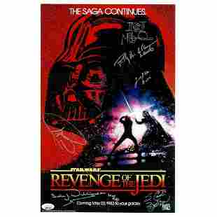 STAR WARS RARE CAST x6 SIGNED 11X17 PHOTO POSTER