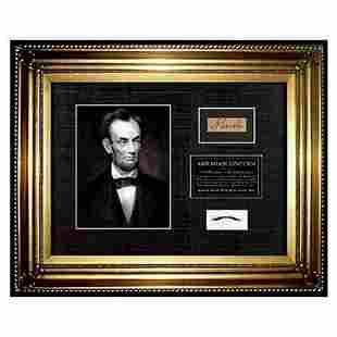 USA President ABRAHAM LINCOLN HAIR lock Signed COA