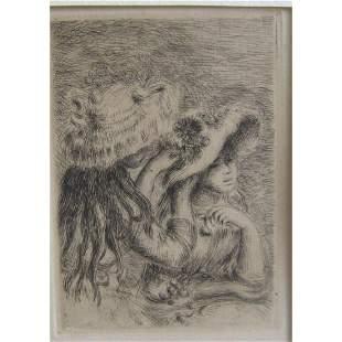 RARE Renoir original etching Le Chapeau Epingle