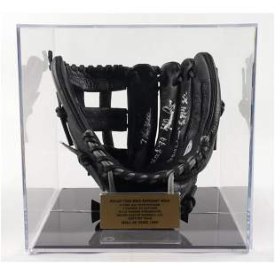 Nolan Ryan Signed Baseball Glove with Display Case with