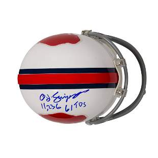 "O.J Simpson Signed Buffalo Bills Mini-Helmet ""11,236 61"