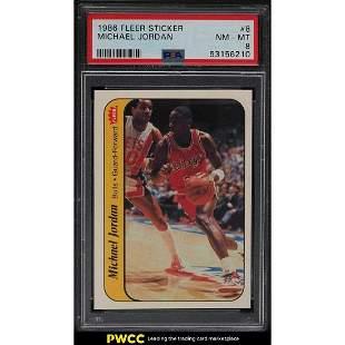 1986 Fleer Sticker Michael Jordan ROOKIE RC #8 PSA 8