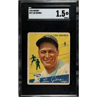 1934 Goudey #37 Lou Gehrig SGC 1.5 Baseball Card New
