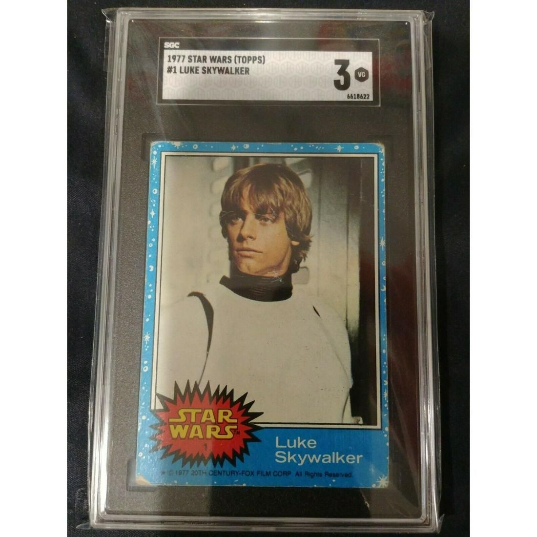 "Luke Skywalker 1977 Topps Star Wars SGC 3 ""Rookie Card"""