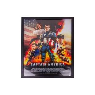Signed And Framed Chris Evans Captain America Poster