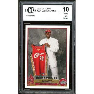 2003-04 Topps #221 Lebron James Rookie Card BGS BCCG 10