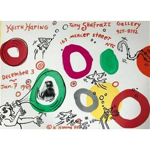 RARE!! Keith Haring SIGNED AND SKETCHED ON GALLERY