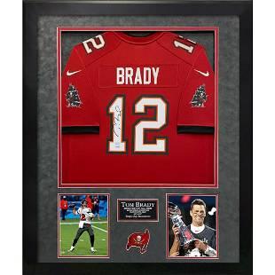 Tom Brady Signed and Framed Buccs Jersey FANATICS COA