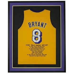 Kobe Bryant Signed Career Highlight Stat Jersey FRAMED