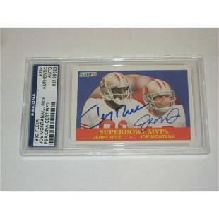 JOE MONTANA & JERRY RICE (49ers) Signed 1990 FLEER Card