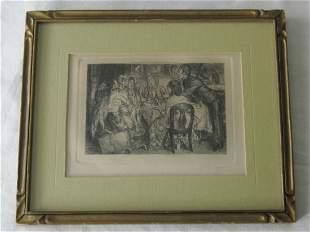 Original 1904 John Sloan Etching Madam Puliphar & Chart