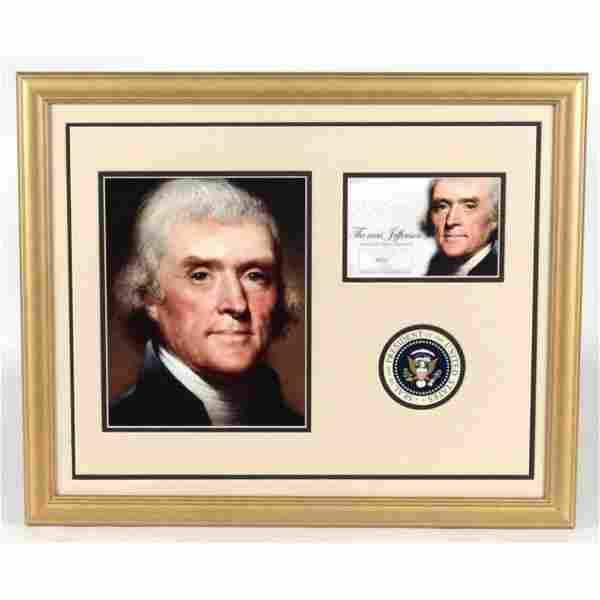 Thomas Jefferson 18x22 Custom Framed Display with (1)