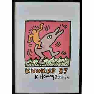 "ORIGINAL! Keith Haring ""Knokke 87"" Signed + drawing WOW"
