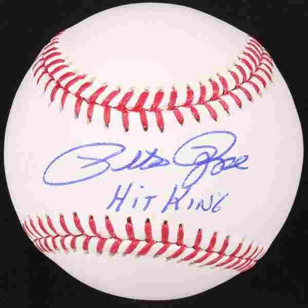 "Pete Rose Signed OML Baseball Inscribed ""Hit King"""