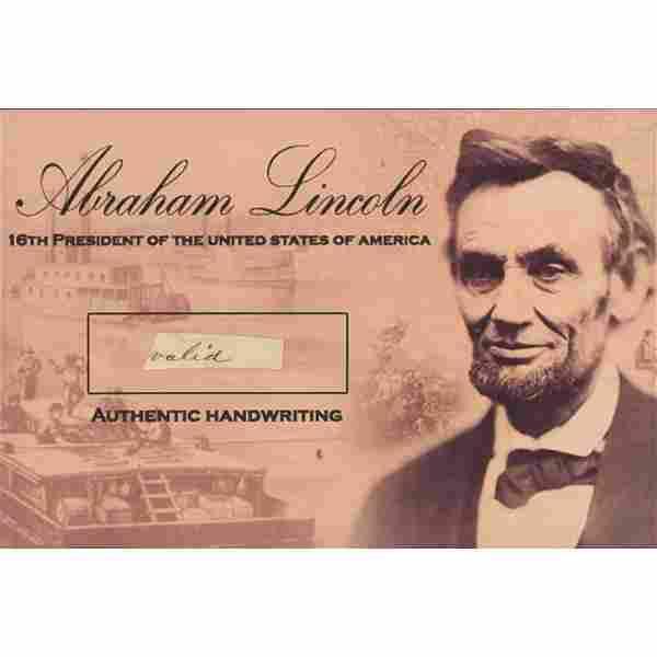 Abraham Lincoln Hand-Written Word (JSA LOA)