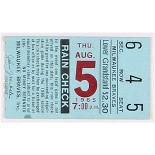 August 5, 1965 Braves vs. Dodgers Ticket Stub