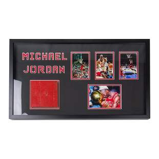 Michael Jordan Framed Collage With Real Wood From Court