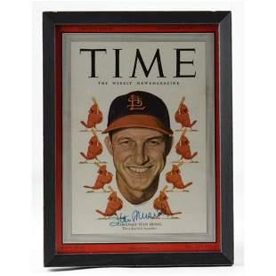 Stan Musial Signed 9x12 Custom Framed 1949 Time
