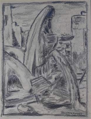 EMIL JAMES BISTTRAM - Rare Sketch of Indian Woman, 1957