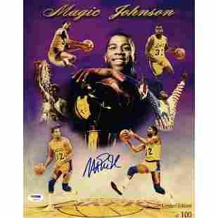 Magic Johnson Signed LE Lakers 11x14 Photo (PSA COA)