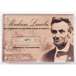 Abraham Lincoln 4x6 Custom Encapsulated Hand-Written