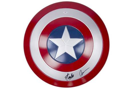 """Stan Lee And Chris Evans signed 24"""" Captain America"""
