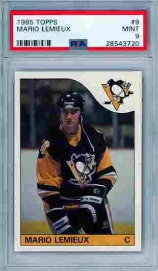 Mario Lemieux 1985 Topps #9 RC PSA 9