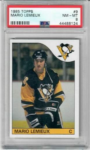 Mario Lemieux 1985 Topps #9 RC PSA 8