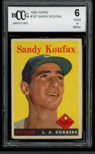 Sandy Koufax 1958 Topps #187 (BCCG 6)