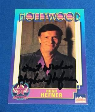Hugh Hefner Signed Hollywood Walk Of Game Card - JSA